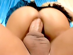 Cute blonde Aubrey Addams takes a huge dick into her tight ass and gets a huge facial live